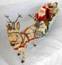 rare antique reindeer wicker sleigh santa christmas ornaments toys