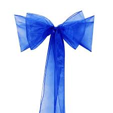 blue chair sashes sashes chair bows royal blue organza sash for wedding and events