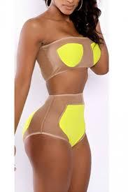 high waisted swimsuits yellow fashion bandage swimsuit top high waisted bikini bottom