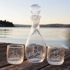 engraved barware personalized elegance wine decanter bola glasses set engraved