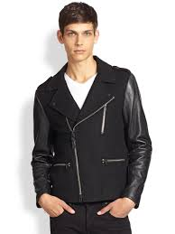 biker jacket sale mackage leather sleeve wool biker jacket in black for men lyst