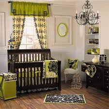 dark brown wooden baby crib also white blue wall paints between