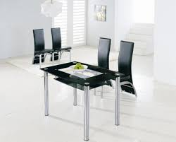 Small Glass Dining Room Tables Sleek Glass Dining Table And Black Chairs For Modern Dining Room