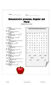 esl kids worksheets demonstrative pronouns singular u0026 plural