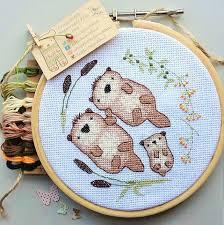 otter cross stitch pattern otter embroidery modern