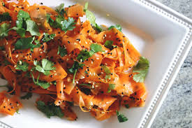 sesame ribbon vinegary carrot ribbon salad with sesame and cilantro a