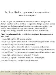 Occupational Therapy Resume Template Certified Occupational Therapy Assistant Cover Letter