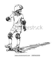 sketch skateboarder long hair riding stock vector 700152607