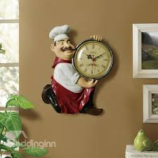 vintage resin chef hanging wall clock dining room walls wall