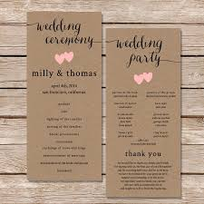 wedding programs rustic printable wedding program rustic wedding program printable