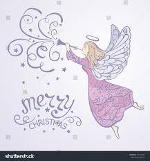 christmas angel trumpet flying sky stock illustration 533148805
