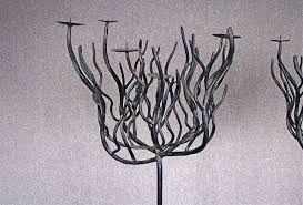 pair of deco tree shaped wrought iron candle holders