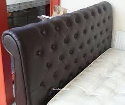 Chesterfield Sleigh Bed Carrington Brown Faux Leather Chesterfield Sleigh Bed 6ft Super