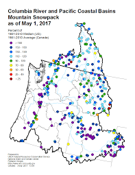 Usa Snow Map by Mountain Snowpack Map Columbia River