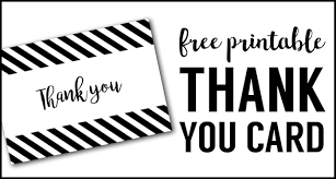 free thank you cards print free printable black and white thank