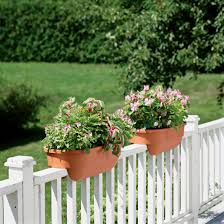 wondeful deck rail planter plastic material weatherproof and