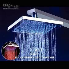 8 square temperature sensitive led light shower brass no