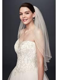 bridal veil two tier sparkling rhinestone edged mid veil david s bridal