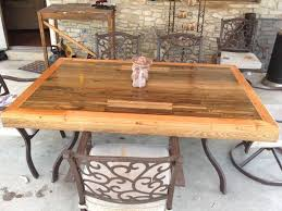 Diy Patio Table Top Patio Tabletop Made From Reclaimed Deck Wood Tabletop Decking