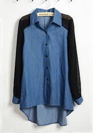 denim blouses blue patchwork swallowtail lapel denim chiffon blouse