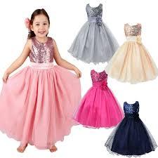kids baby flower girls party sequins dress wedding bridesmaid