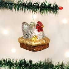 hen on nest ornament baby glass