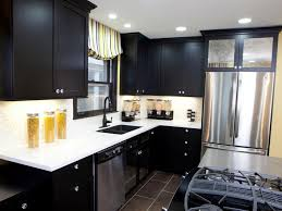 Amazing Small Kitchen Remodeling With Black Cabinets And White - Black lacquer kitchen cabinets