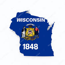 Wisconsin State Map by Wisconsin State Flag On 3d Map U2014 Stock Photo Godard 61725659