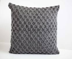 Patterns For Knitted Cushion Covers Gray Knit Pillow For Home Decor Honeycomb Pattern Pillows