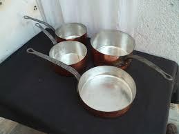 batterie de cuisine en cuivre ancienne batterie série de casseroles cuivre étamé xixème siècle