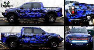 Ford Raptor Blue - full digital camo wrap on ford raptor