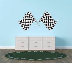 Vinyl Wall Decals Decal Vinyl Wall Sticker 1st Place Checkered Flag Race Car