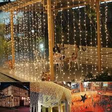 Indoor Curtain Fairy Lights Amazon Com Mzd8391 Fairy Curtain Lights 9 8ft 9 8ft 304 Led 8