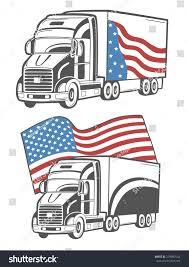 american flag truck vector illustration heavy truck american flag stock vector
