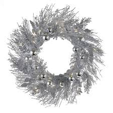 24 inch battery operated pre lit silver twig led indoor outdoor