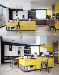 design yellow and wood kitchen furniture dark brown solid base yellow and wood kitchen furniture dark brown solid base cabinet white square range hood induction cooktop height barstool open shelves