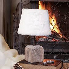 french alps wooden cube table lamp with faux fur shade by dibor