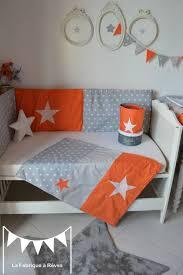 chambre bebe orange couverture bébé garçon polaire coton gris orange étoiles blanc