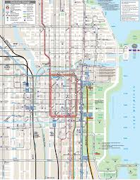 Chicago Redline Map by Chicago Downtown Transport Map U2022 Mapsof Net