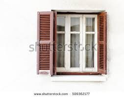 Wooden Blinds For Windows - retro window brown wooden shutters curtains stock photo 509362177