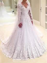 v neck wedding dresses ericdress a line sleeves lace v neck wedding dress 12799064