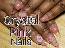 stiletto crystal pink acrylic nails with 3d flowers