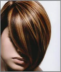 bob hair with high lights and lowlights dark brown lowlights and highlight hair color with side bangs for