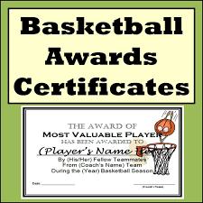 basketball awards certificates 9 different awards teacher