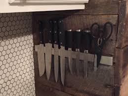 kitchen knives holder rustic magnetic knife rack handmadeology