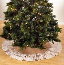 burlap tree skirt farmhouse christmas burlap tree skirt ivory ruffle trim 56 inches