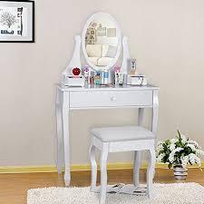 coiffeuse blanche si e avec miroir inclus coiffeuses meubles salon