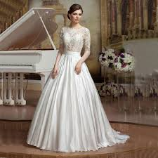 lace top wedding dress vnaix w3879 see though top white lace illusion sleeves