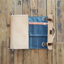 Canvas Tan The Butcher Natural Tan Leather Waxed Canvas Knife Case
