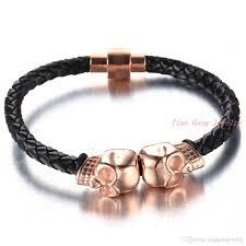leather bracelets for men trendy style skull bracelet for men genuine leather bracelet punk